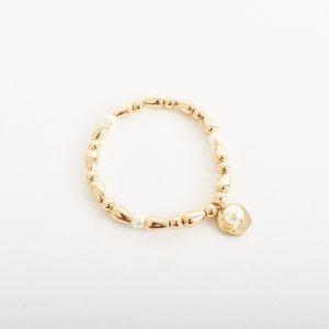 Disc & Pearl Ball Charm Bracelet Fashion Jewellery