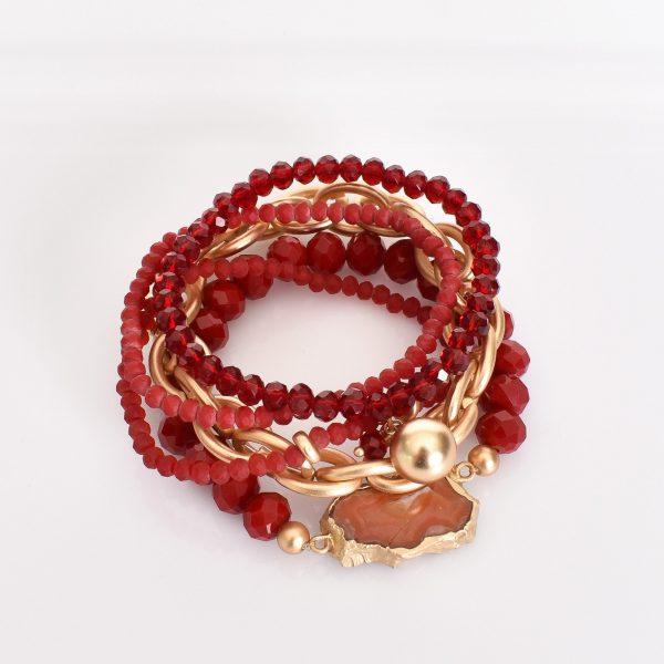 Agate & Bead Multi Set Bracelet