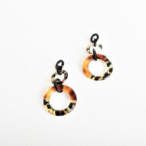Leopard Resin Ring Drop Earring