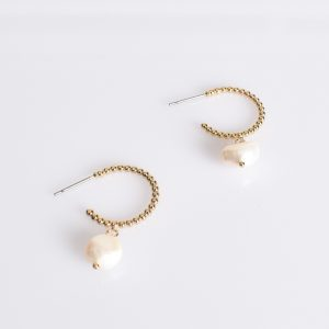 Mini Ball & Freshwater Pearl Earring