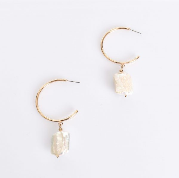 Freshwater Pearl Drop Hoop earring fashion jewellery