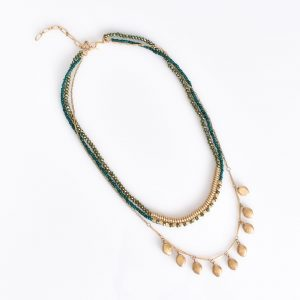 Multi Layered Bead necklace Green/Gold fashion jewellery