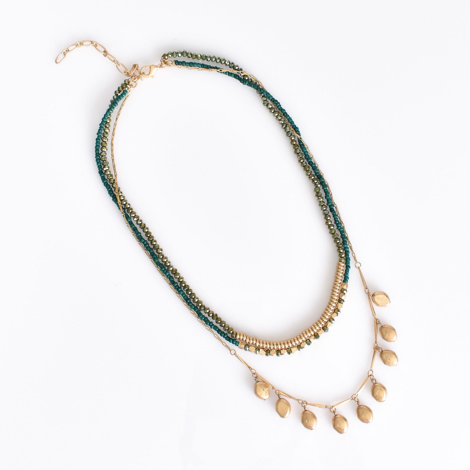 Multi Layered Bead necklace Green/Gold fashion jewellery