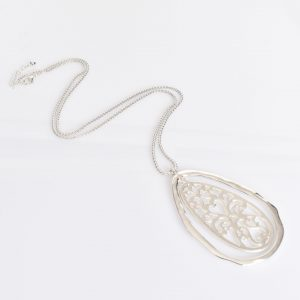 Teardrop Pendant Long necklace Silver fashion jewellery