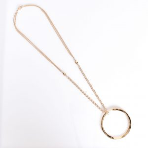Beaten Ring Pendant Long necklace Gold fashion jewellery