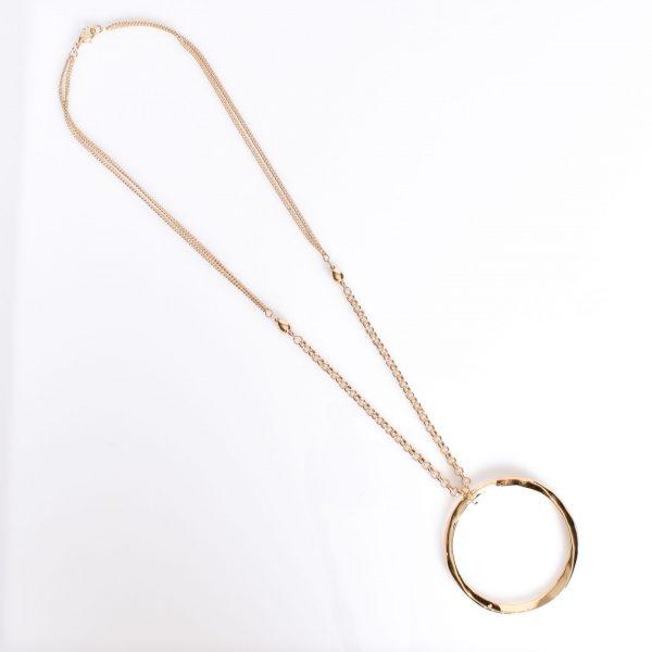 Beaten Ring Pendant Long necklace Gold fashion jewellery