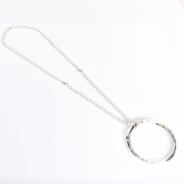 Beaten Ring Pendant Long necklace Silver fashion jewellery