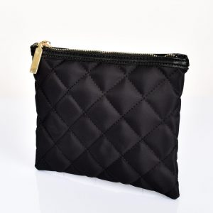 Quilted Zip Top Pouch Black fashion bags clutches pouch