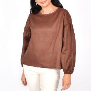 Adorne Bonnie Linen Puff Sleeve Top Choc