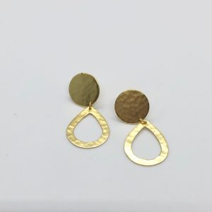 Beaten Circle & Teardrop Earrings