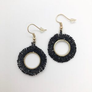 Black Bead Circle Fashion Earrings
