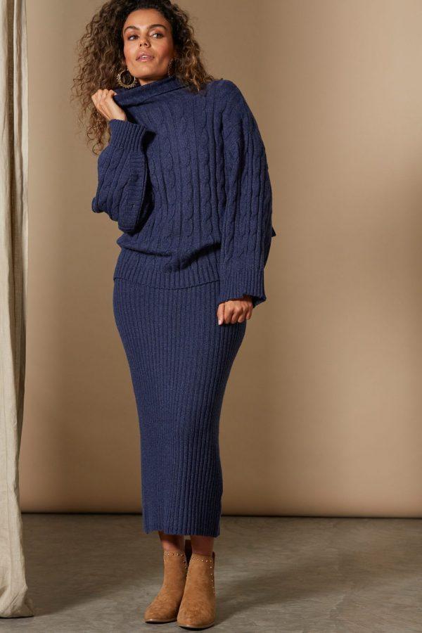 isle of mine clarity cable knit indigo woens winter fashion
