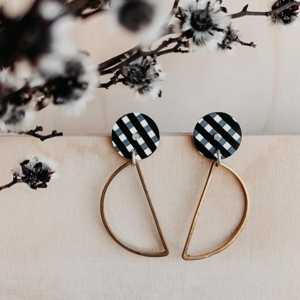 EBONY GINGHAM HANGING MOON STUD EARRINGS