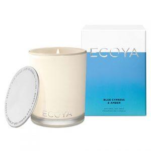 Ecoya Blue Cypress & Amber Candle Large
