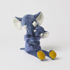 Elephant With Baby Navy Soft Toy