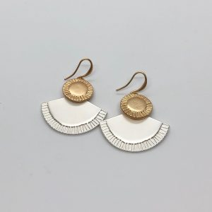 Fan Drop Two Tone Fashion Earrings