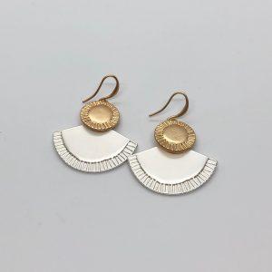 Fan Drop Two Tone Fashion Earrings