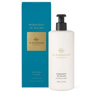Glasshouse fragrance body lotion luxurious body lotion Midnight in Milan saffron & rose