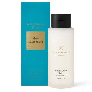 Glasshouse fragrances shower gel luxury shower Melbourne Muse coffee flower and vanilla