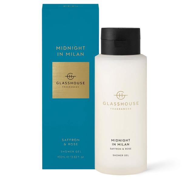 Glasshouse fragrance shower gel luxury shower Midnight in Milan saffron and rose