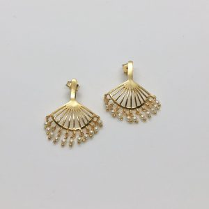 Gold Fan Pearl Earrings