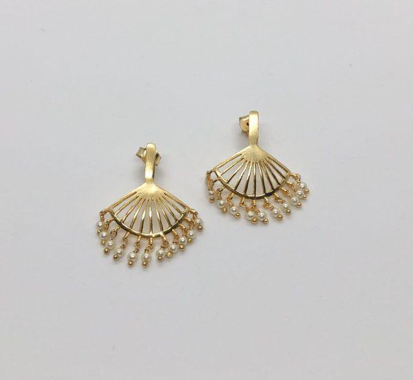 Gold Fan Pearl Earrings