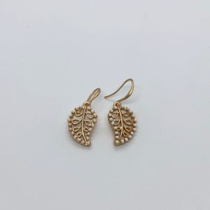Gold Leaf & Bead Fashion Earrings