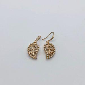 Gold Leaf & Bead Fashion Earrings