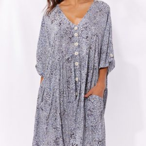 Haven Havana Dress Havana Blue Women's Fashion
