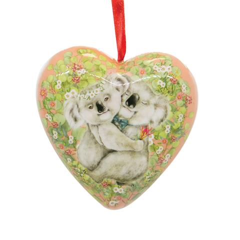 La La Land Heart Shape Bauble Koala Hug Christmas