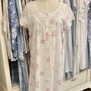 French Country Nightie Capped Sleeve Rose Scatter