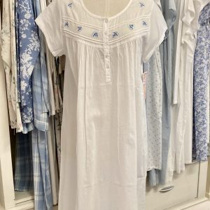 French Country Capped Sleeve Nightie White with Blue Flowers