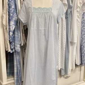 French Country Capped Sleeve Nightie Pinstripe Blue