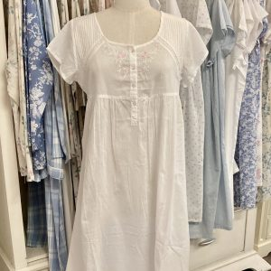 French Country Capped Sleeve Nightie White with Pink Flowers