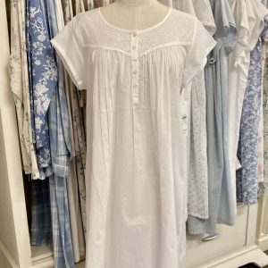 French Country Capped Sleeve Nightie 60s Cambric