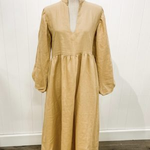 LJC Designs Ellie Dress Tan Linen