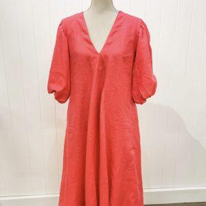 LJC Designs Charlotte Dress Linen Raspberry