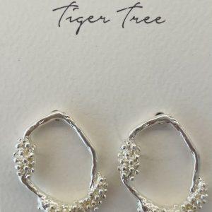 Tiger Tree Silver Organic Garden stud earring