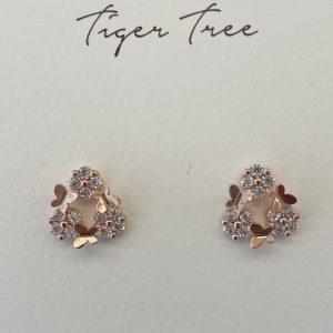 Tiger Tree Butterfly Garden Rose Gold Plate stud earrings