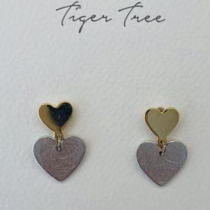 Tiger Tree Little & Big Heart Two Tone stud earrings
