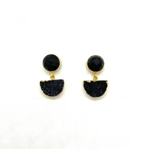 Black Stone Shape Fashion Earrings