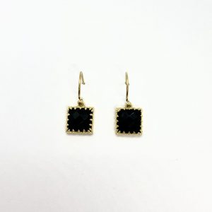 Square Black Stone Fashion Earrings