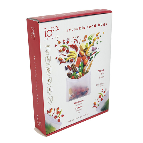 IOco Reusable Food Bags Set 6 Stand Up Zip