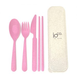 IOco Wheat Straw Fibre Cutlery Set Pink