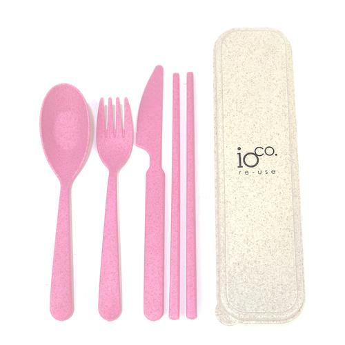 IOco Wheat Straw Fibre Cutlery Set Pink