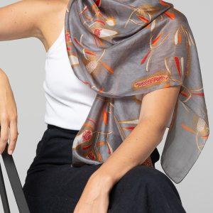 Indus Banksia Silk Scarf Grey
