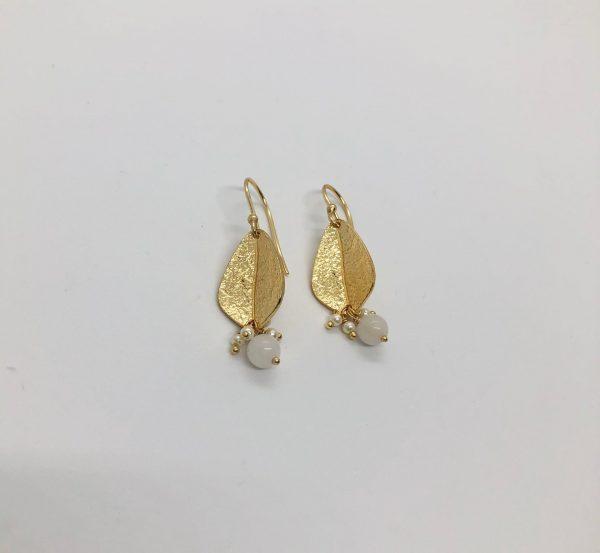 Leaf, Pearl & Bead Earrings