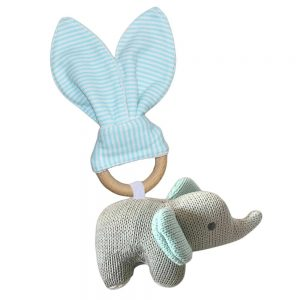 Living Textiles Wooden Elephant Rattle Teether