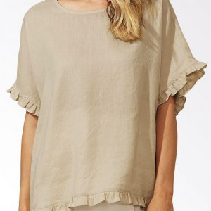 Haven Majorca Frill Top Sand Linen Women's Fashion