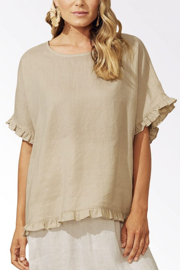 Haven Majorca Frill Top Sand Linen Women's Fashion
